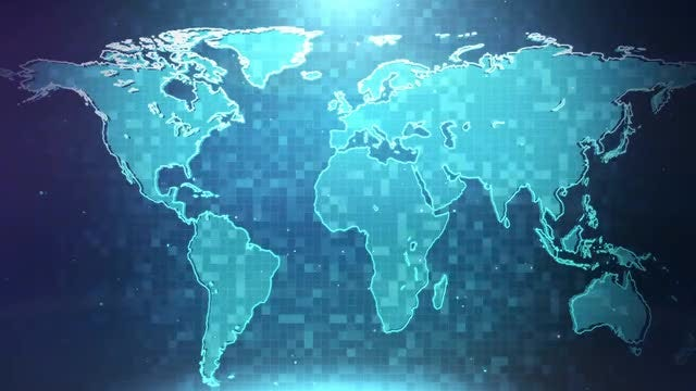Digital World Map Background: Stock Motion Graphics