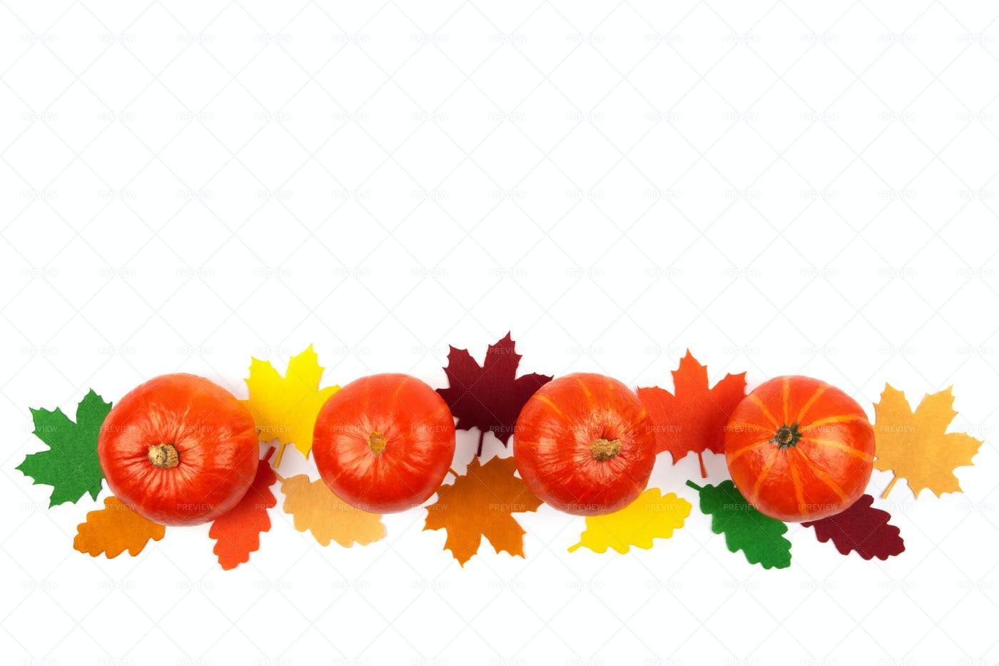 Orange Pumpkins And Leaves: Stock Photos