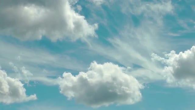 Cumulus Clouds On Blue Sky: Stock Video