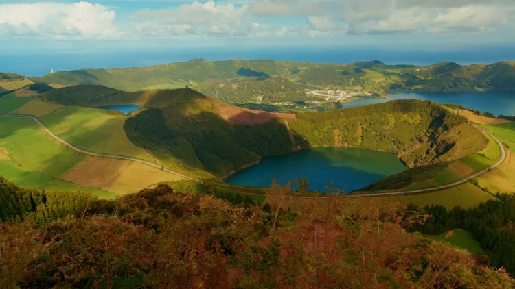 Lake Santiago In The Azores: Stock Video