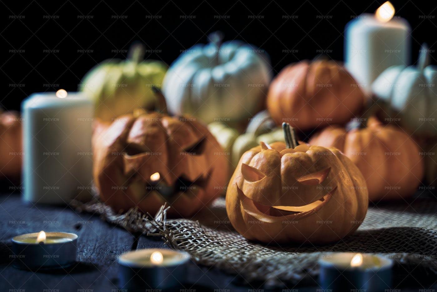Scary Pumpkins For Halloween: Stock Photos