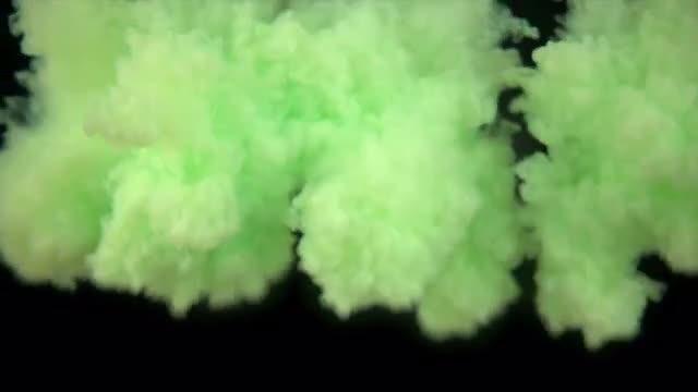 Green Liquid Paint In Water: Stock Video