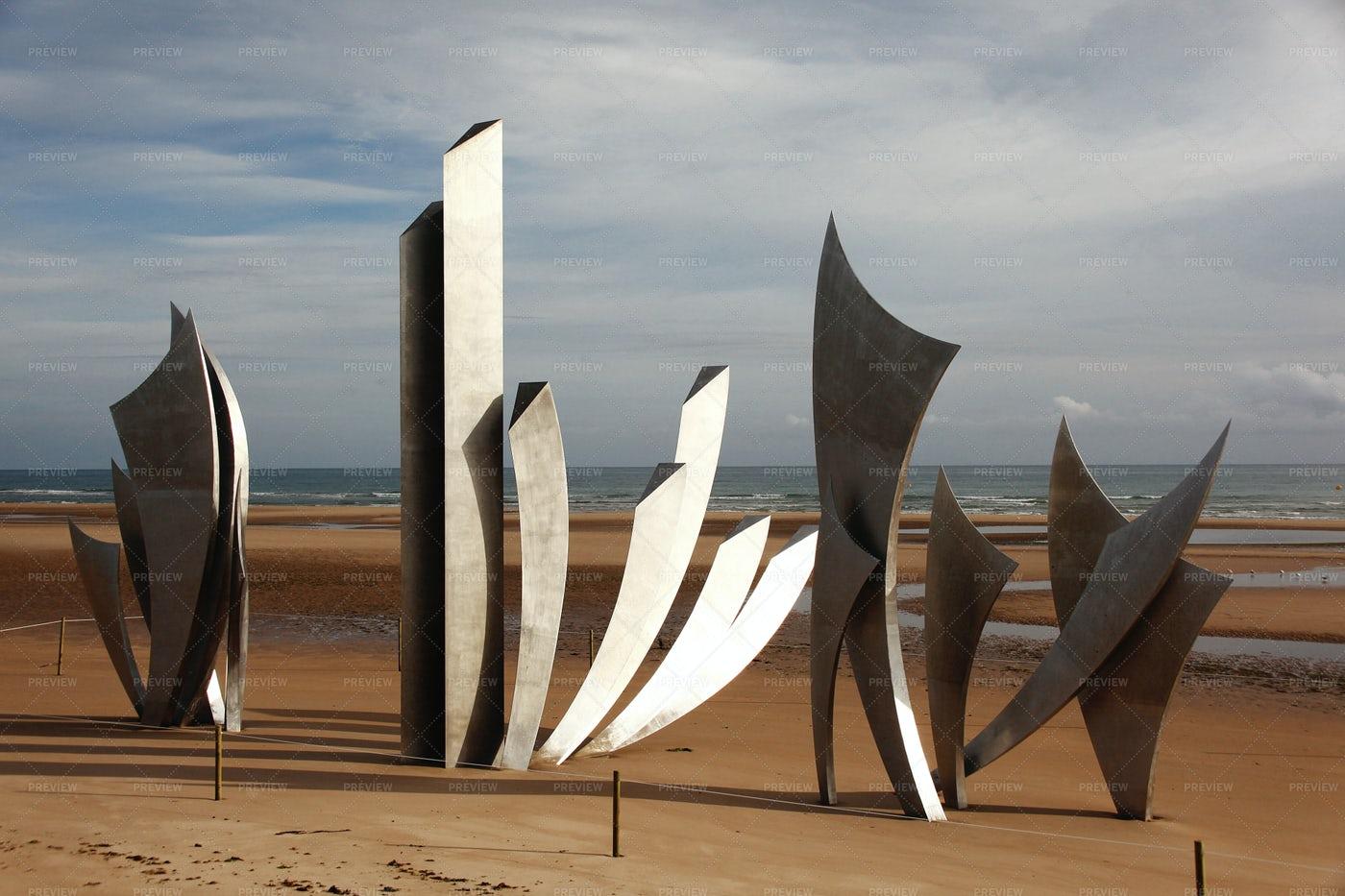 Omaha Beach War Memorial: Stock Photos