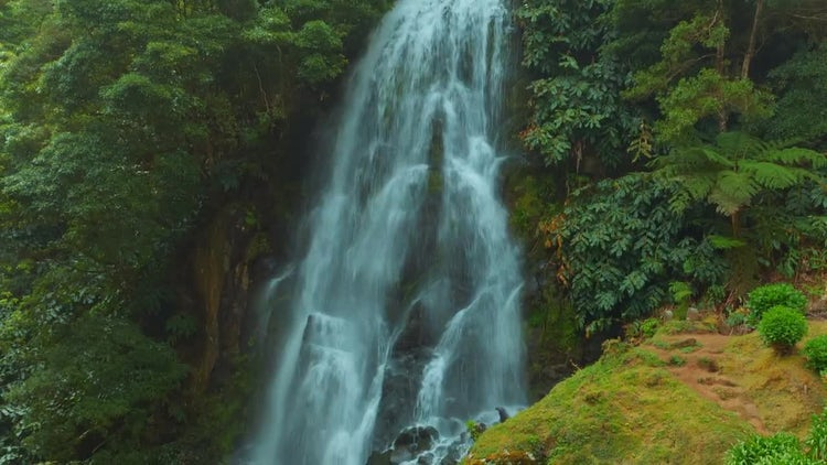 Wonderful Waterfall In The Azores: Stock Video