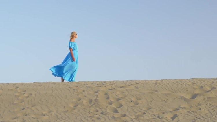 Woman Walking On Beach Shoreline: Stock Video