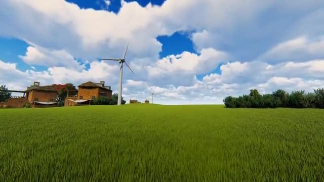 Windmills And Blue Sky: Stock Motion Graphics