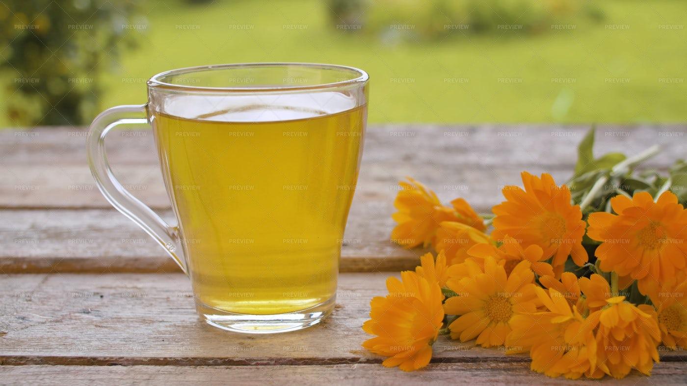 Calendula Tea And Flowers: Stock Photos