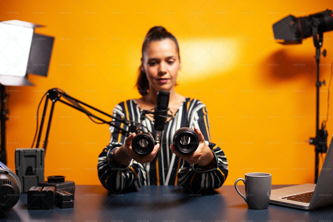 Photography Vlogger Recording Video: Stock Photos