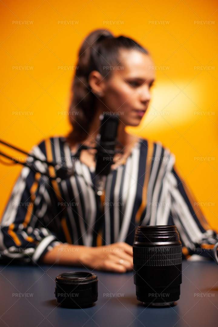 Close-Up Of Camera Lens During Podcast: Stock Photos