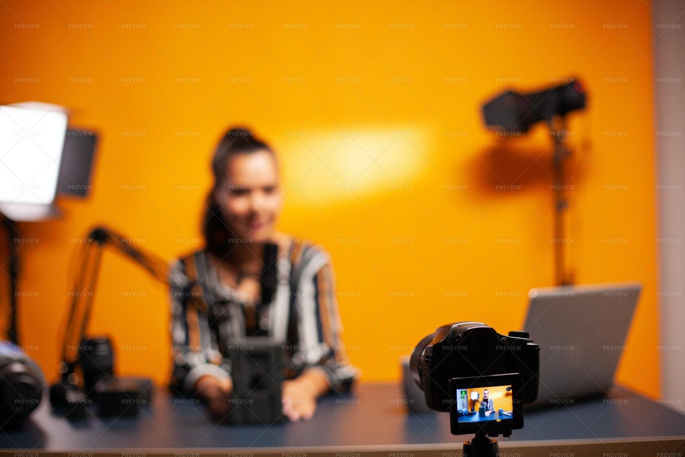 Camera Recording Vlog In Home Studio: Stock Photos