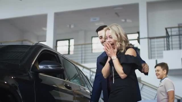 Happy Family Getting New Car : Stock Video