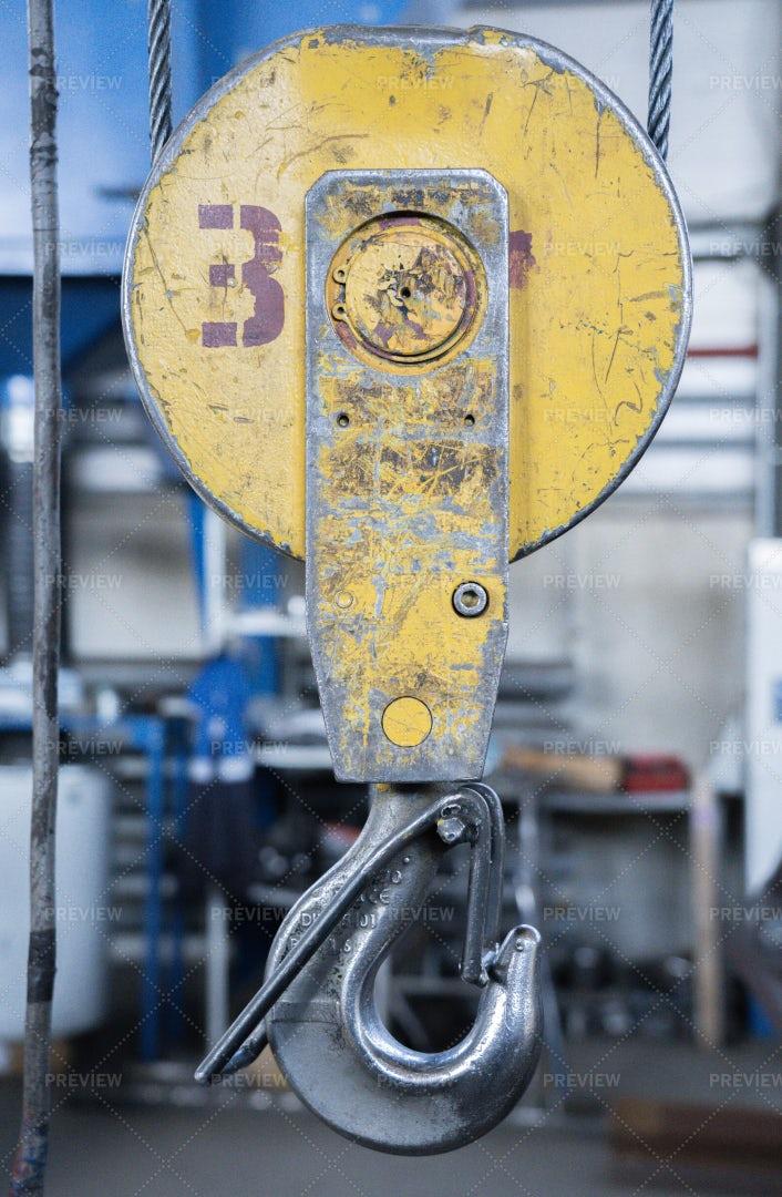 Crane Hook In Industrial Workshop: Stock Photos