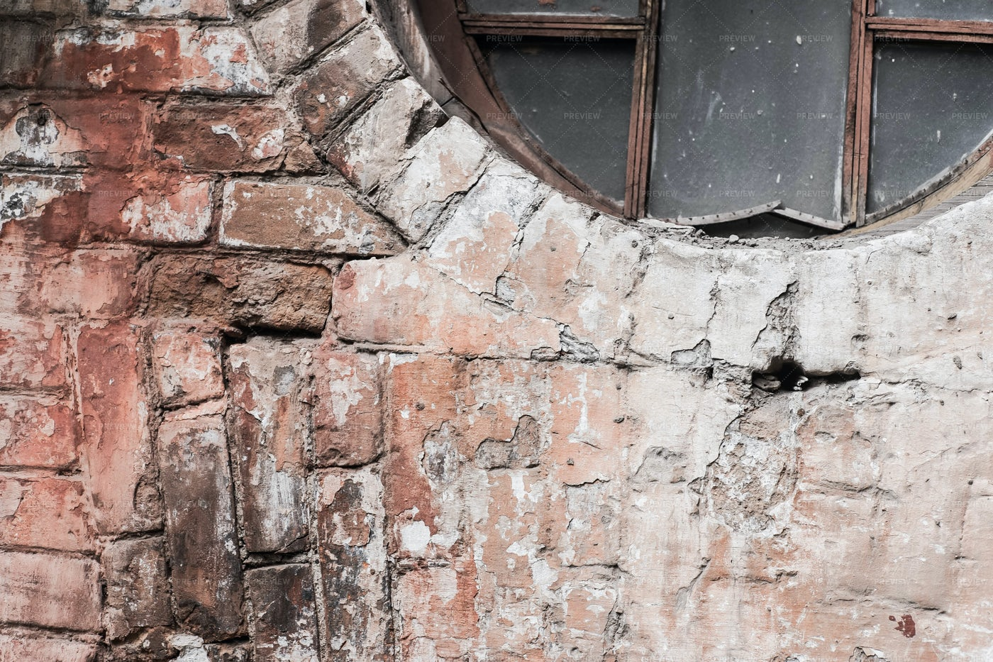 Old Brick Wall With Round Window: Stock Photos