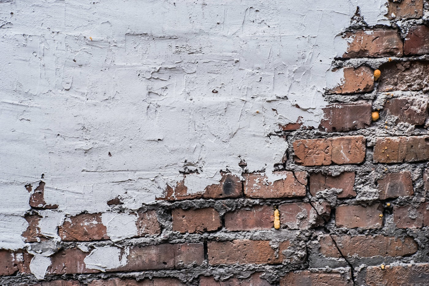 Red Brick And White Plaster Wall: Stock Photos