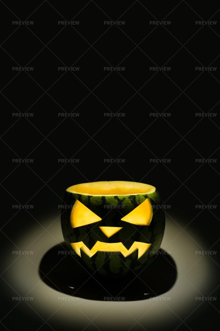 Jack-O-Lantern Watermelon: Stock Photos