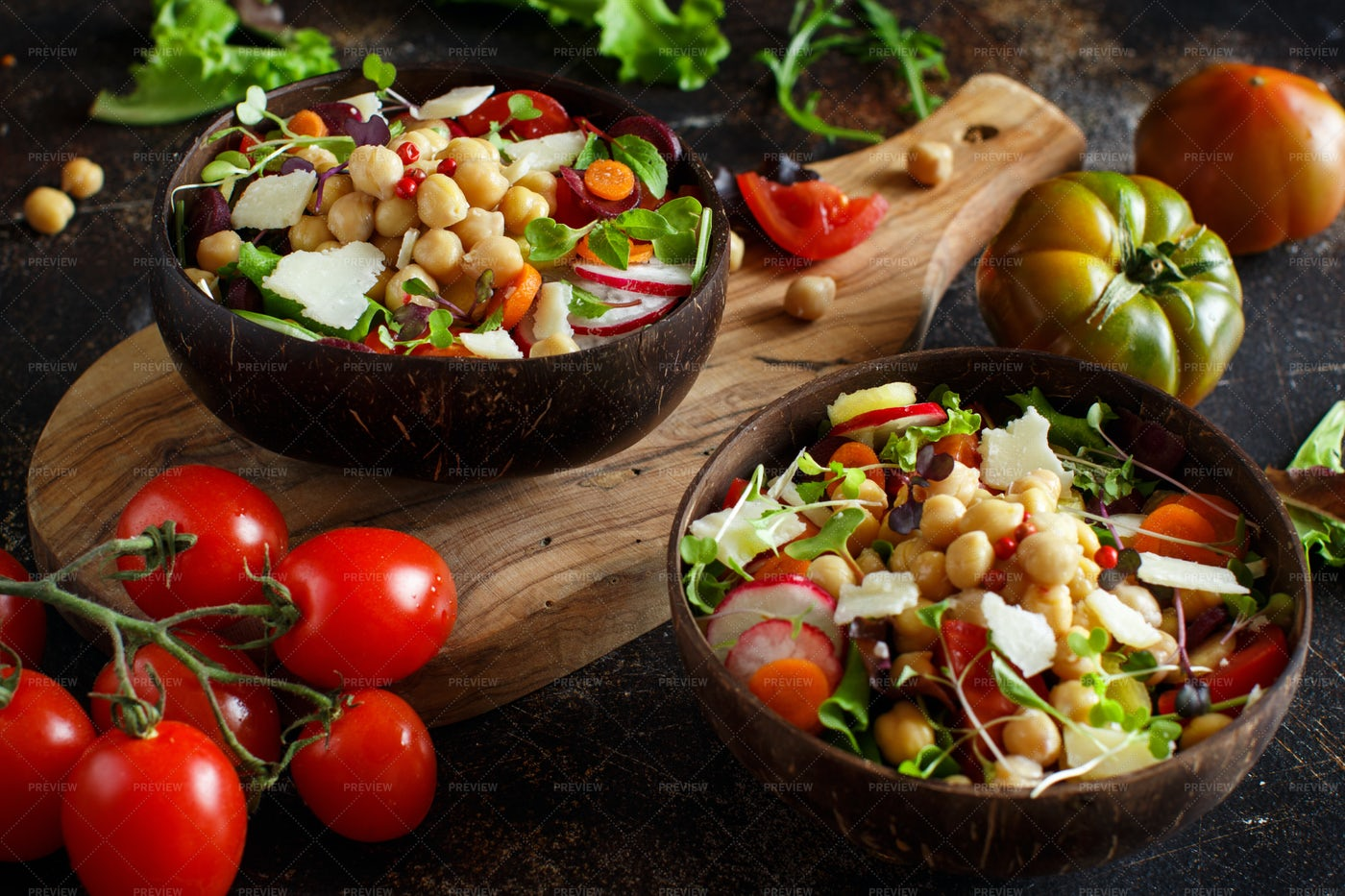Chickpea Salad With Vegetables: Stock Photos