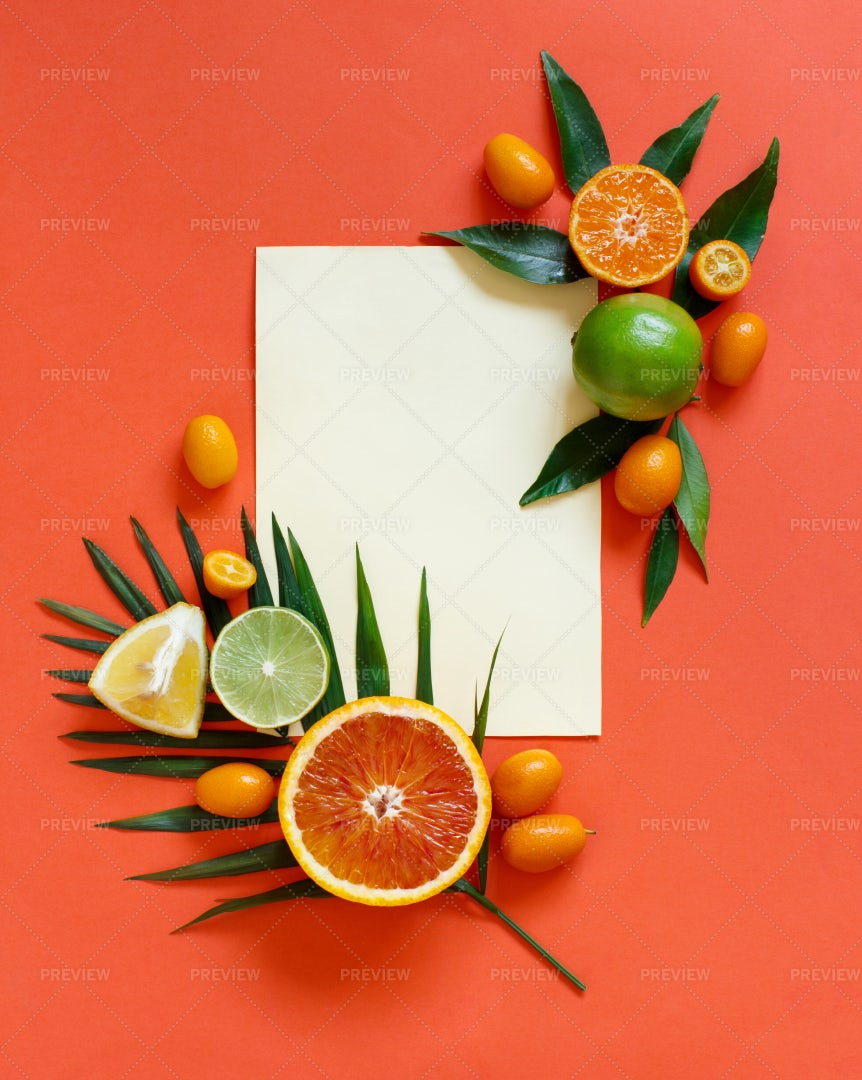 Frame Of Citrus Fruits: Stock Photos