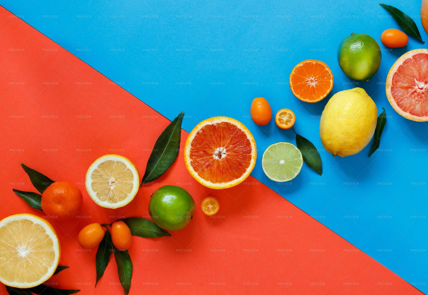 Citrus Fruits And Leaves: Stock Photos