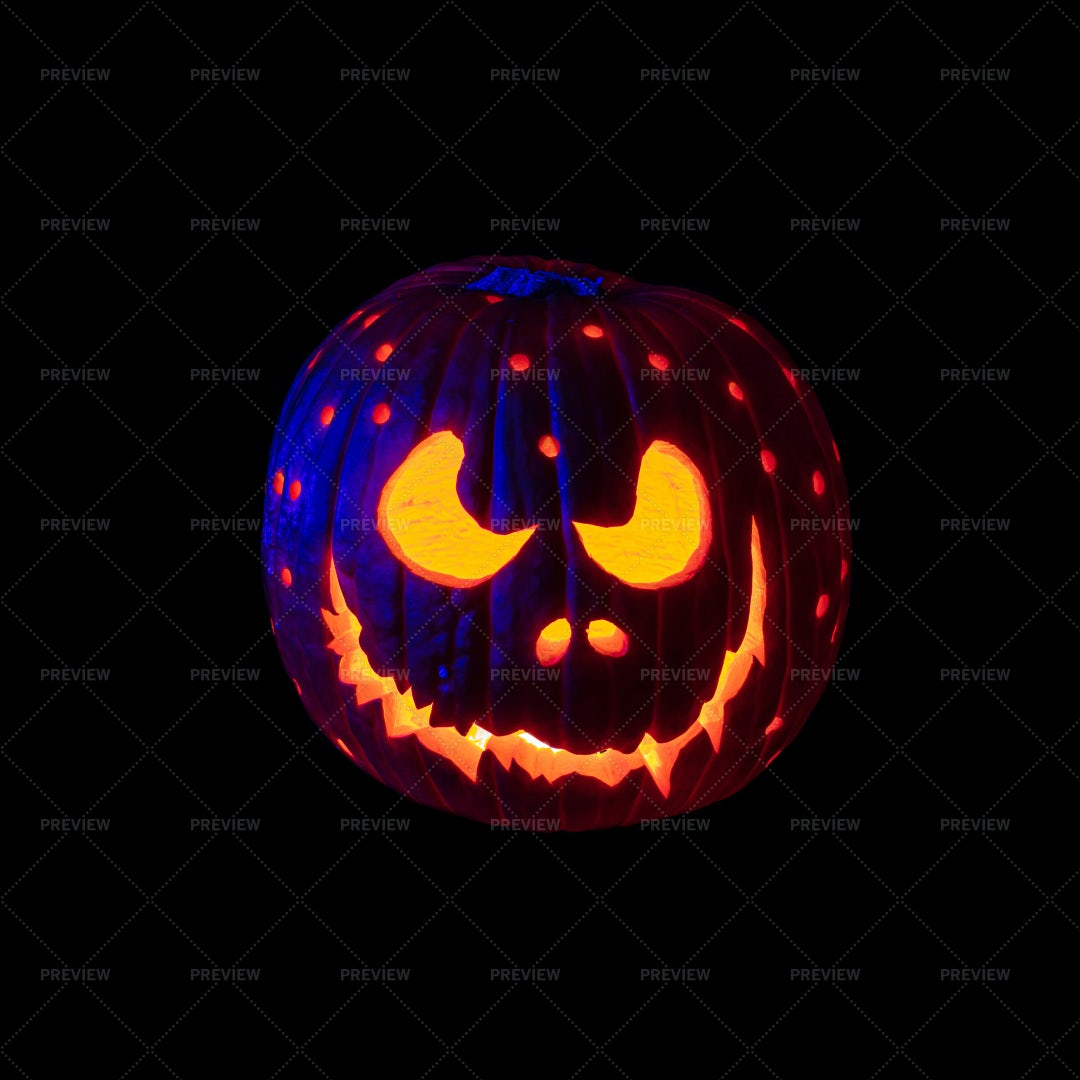 Pumpkin Carved With Candle: Stock Photos