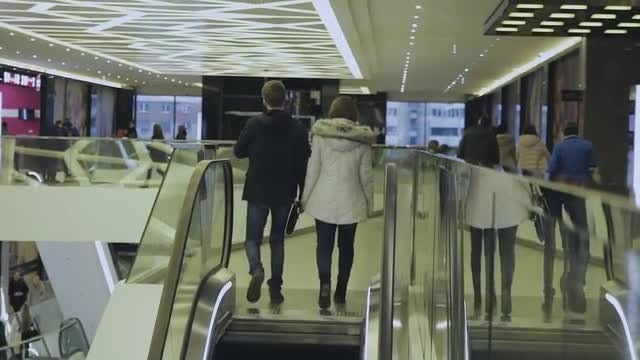 Escalator At A Business Center: Stock Video
