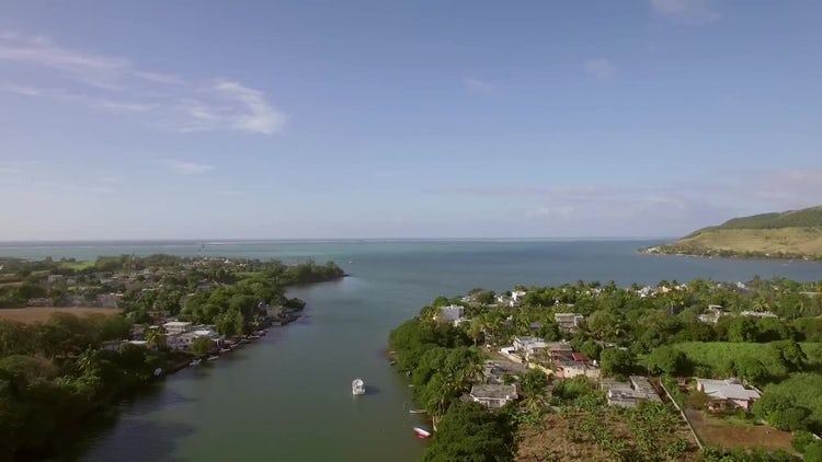 Aerial View Of Coastal Town: Stock Video