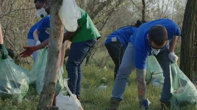Multiracial Volunteers Collecting Garbage: Stock Video
