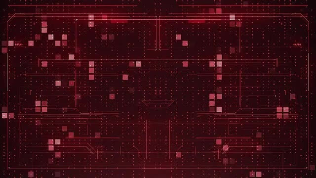 Red Pixels Abstract Digital Background: Stock Motion Graphics