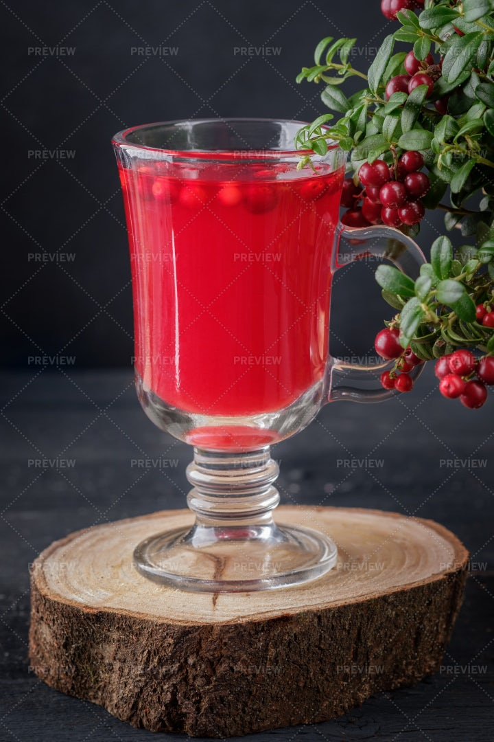 Glass Of Lingonberry Tea: Stock Photos
