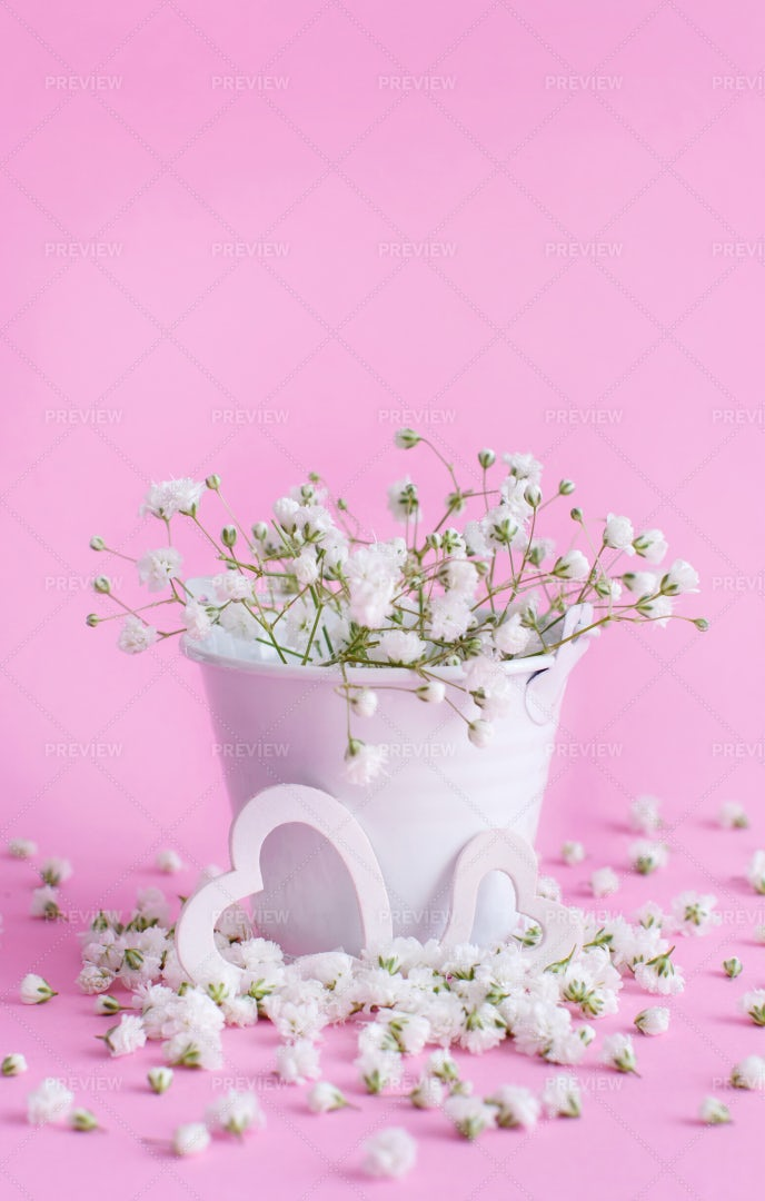 Flowers In A Bucket Background: Stock Photos