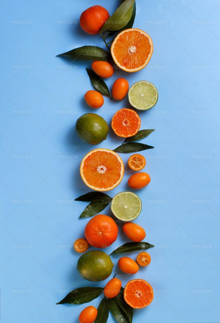 Citrus Fruits On Blue: Stock Photos