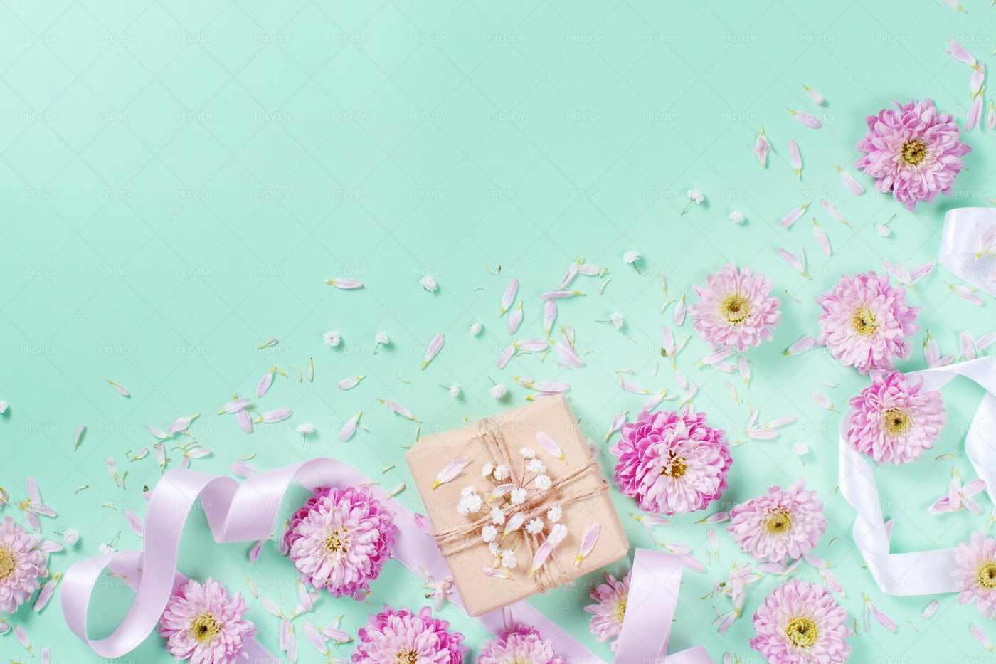 Pink Flowers With Gift Box Background: Stock Photos