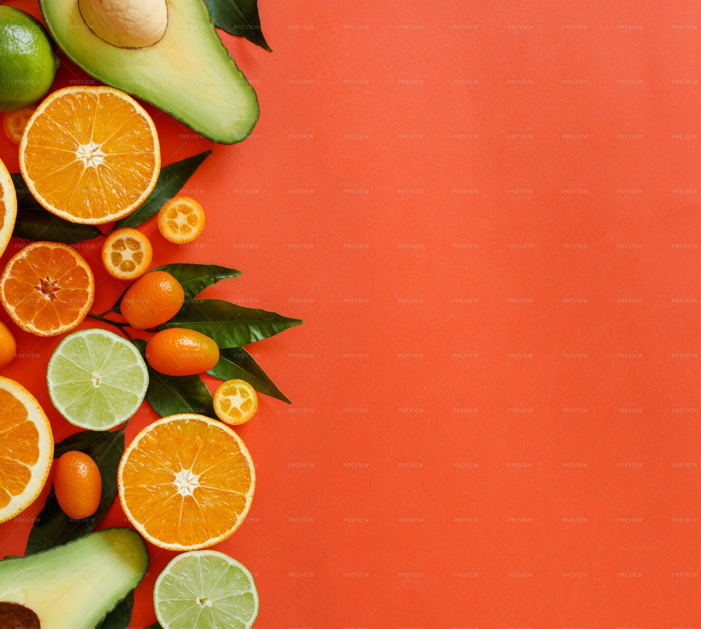 Citrus Fruits On Red: Stock Photos