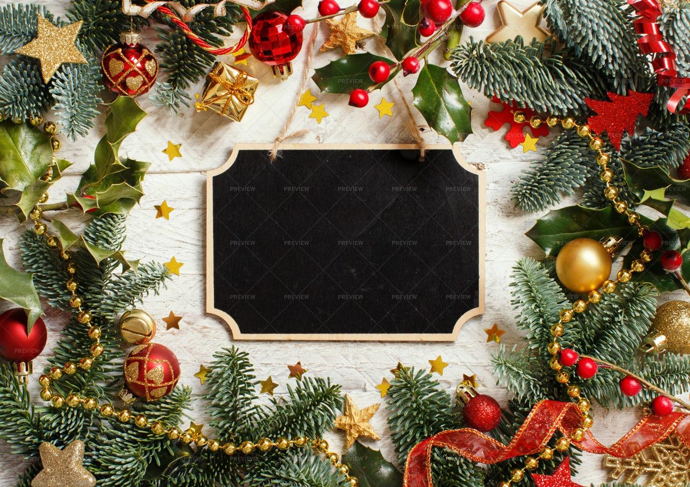Christmas Chalkboard Frame Background: Stock Photos