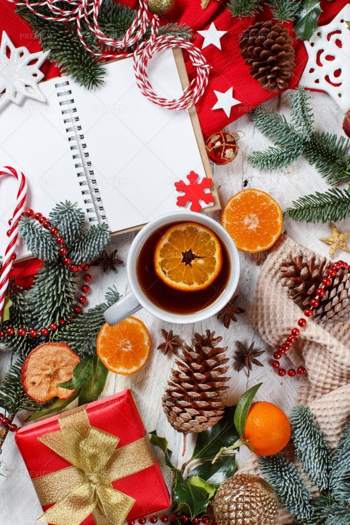 Christmas Composition With Tea: Stock Photos