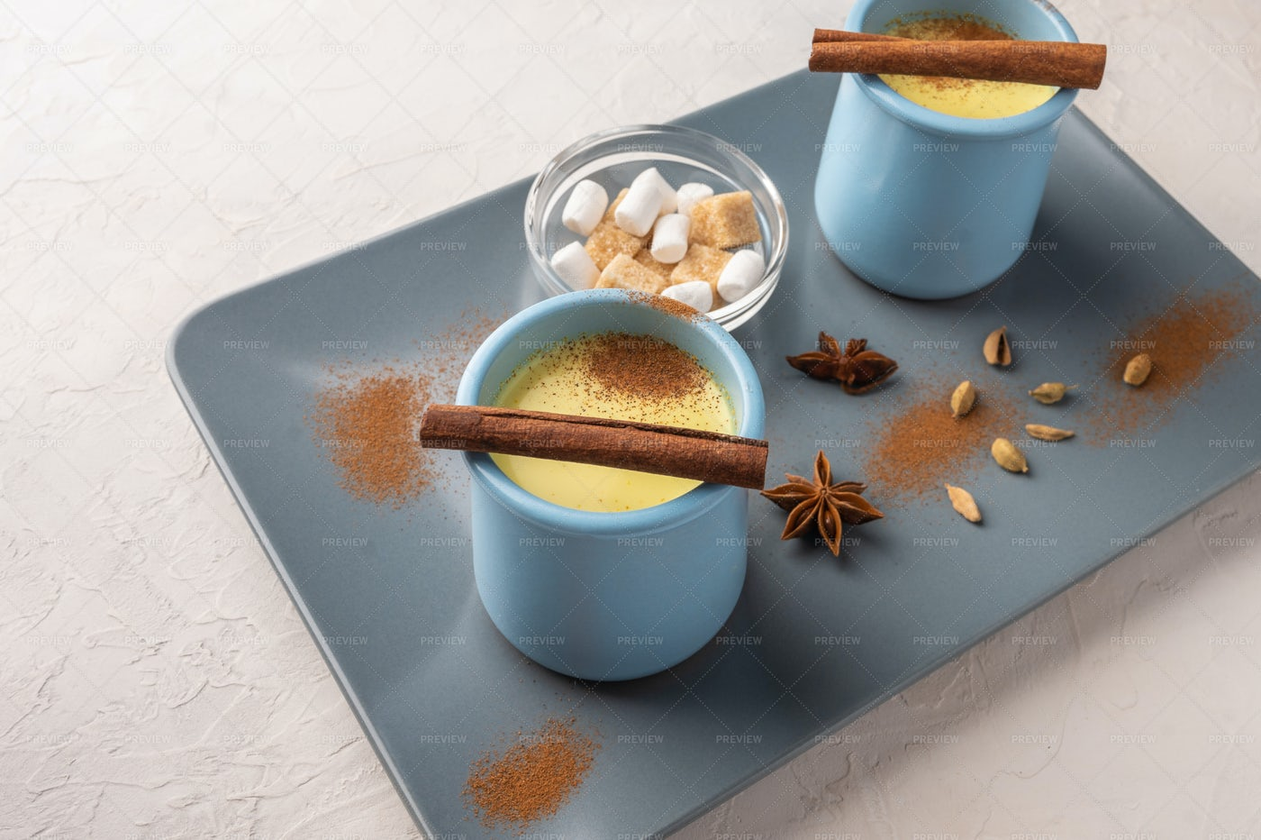Blue Cups With Chai: Stock Photos