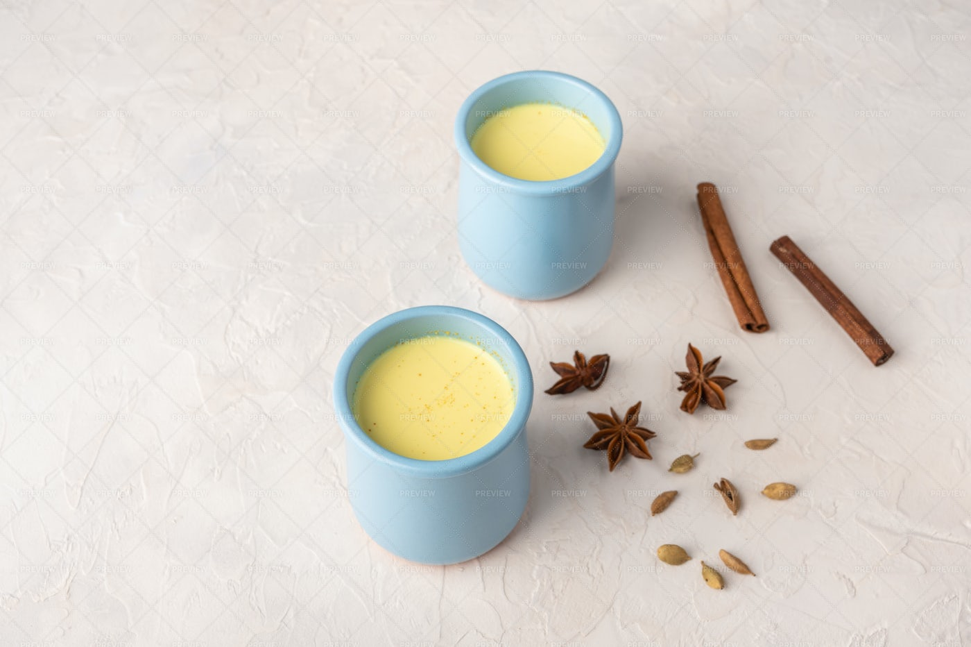 Blue Cups With Masala: Stock Photos