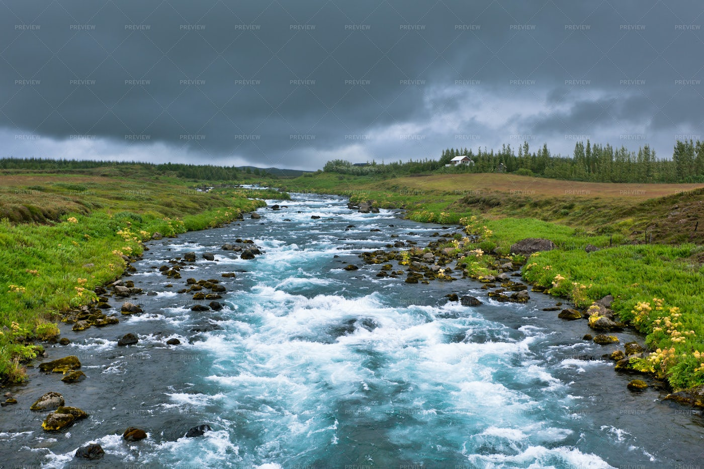 Iceland Landscape With River: Stock Photos