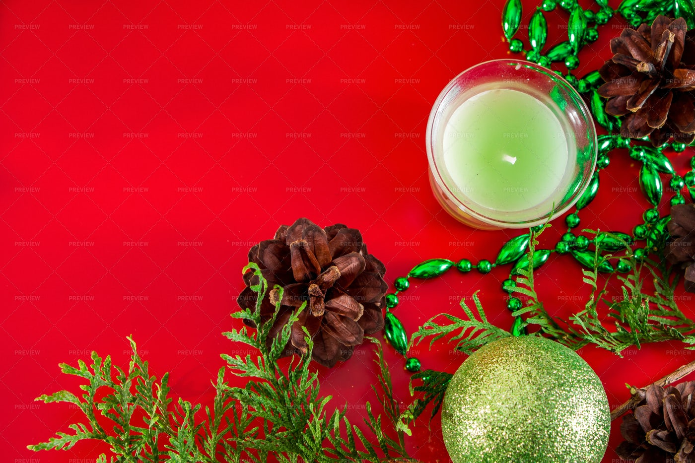Festive Composition On Red: Stock Photos