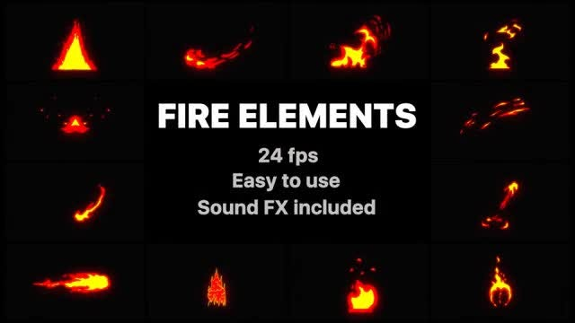 Cartoon Fire Elements: Stock Motion Graphics