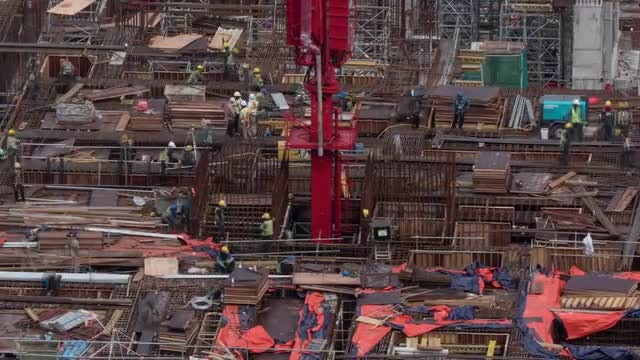 Time Lapse Of Construction Site: Stock Video