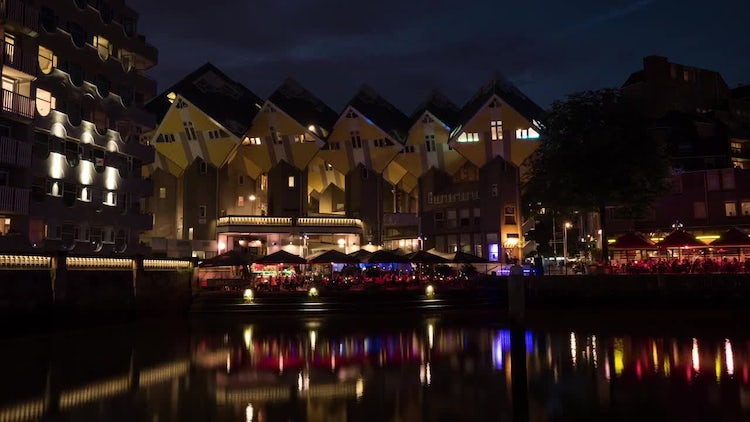 Central Rotterdam Cube Houses at Night: Stock Video