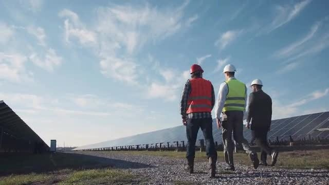 Walking Inside Solar Power Plant: Stock Video