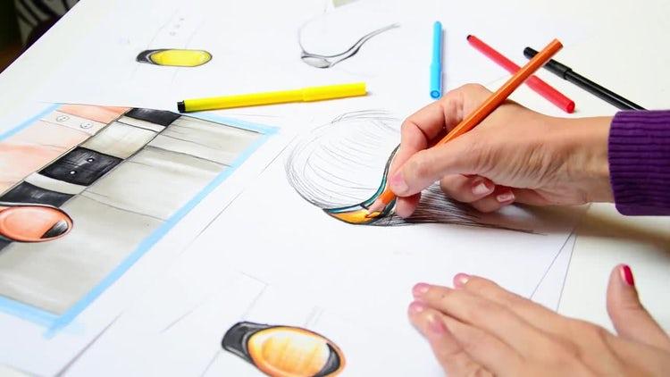 Fine Artist Drawing New Design: Stock Video