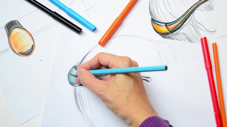 Fine Artist Drawing With Pencil: Stock Video