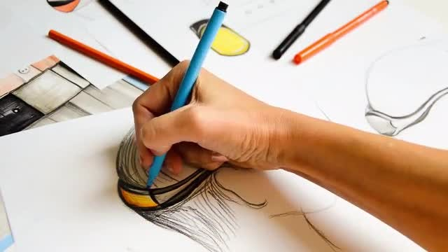 Fine Artist Drawing Colorful Image: Stock Video
