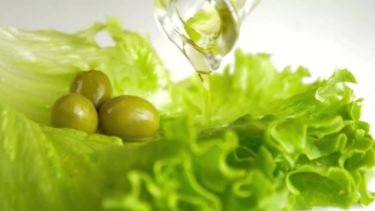 Olive Oil On Salad: Stock Video