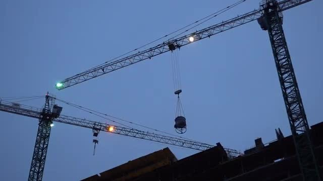 Construction Crane Working At Sunset : Stock Video