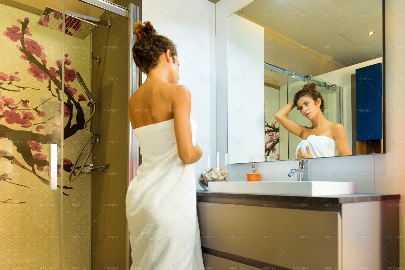 Woman In A Bathroom: Stock Photos