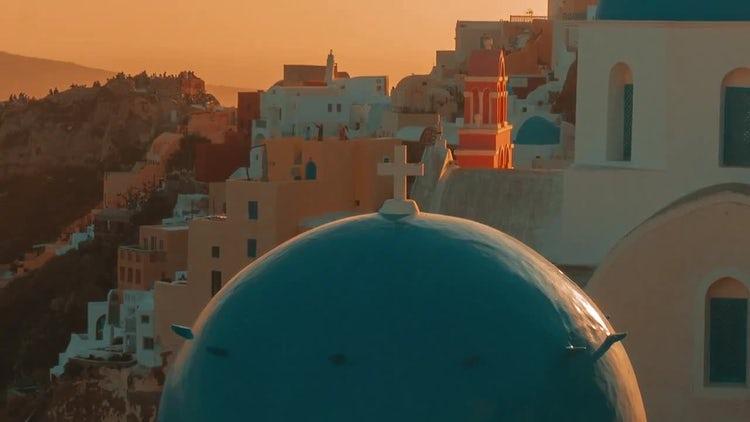 Blue Dome Cycladic Church - Santorini: Stock Video