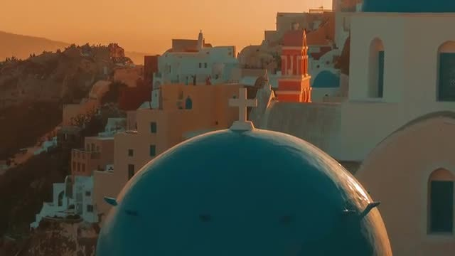 Blue Dome Cycladic Church - Santorini: Stock Video